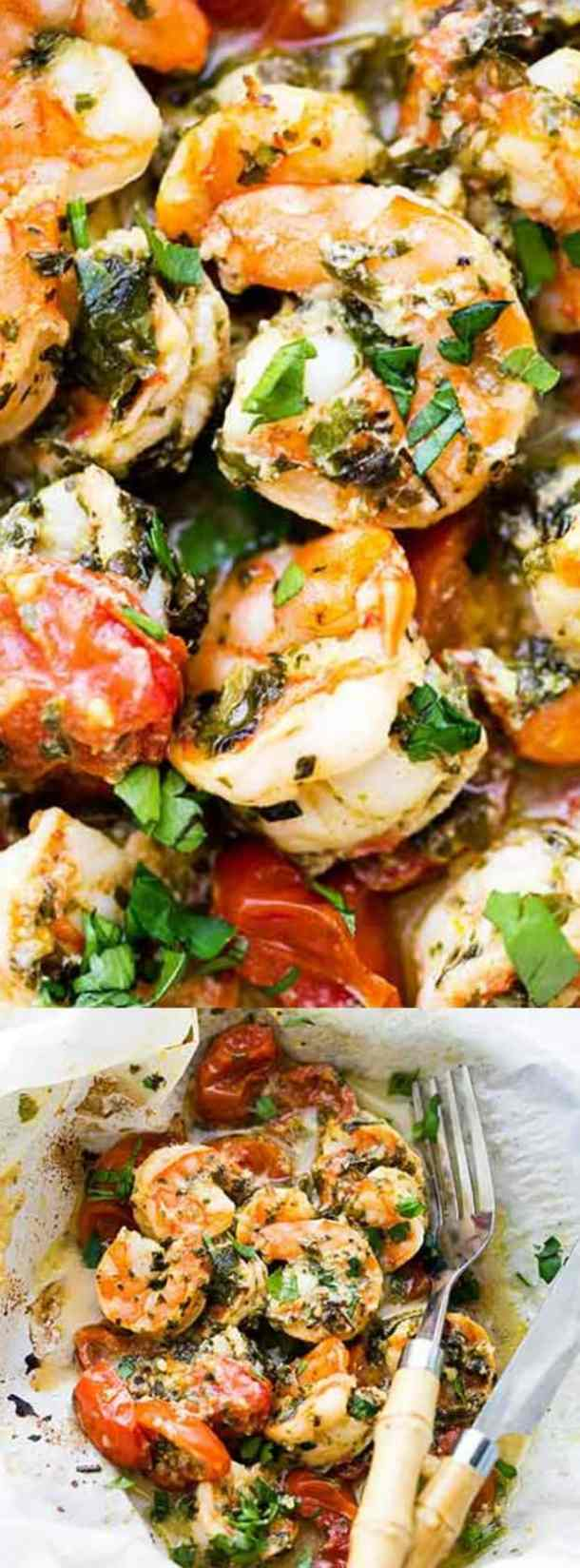 Lemon Garlic Herb Shrimp in Packets