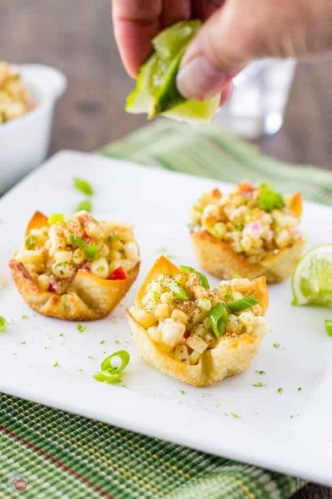 Mexican Street Corn WonTon Salad Cups recipe