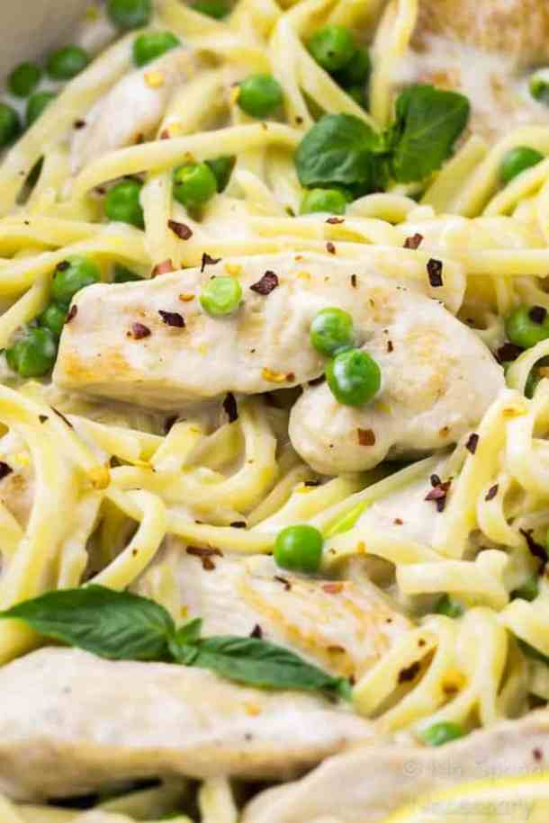One Pot Creamy Lemon Chicken Pasta with Basil & Peas recipe