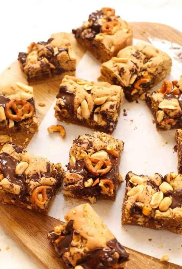 Peanut Butter Pretzel Gluten Free Cookie Bars recipe