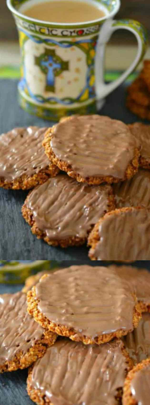 chocolate coated Hobnob Biscuits longpin