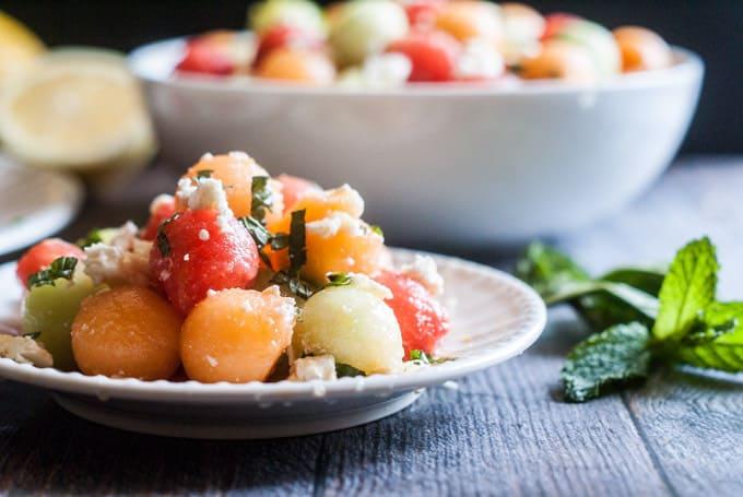 feta melon salad with lemon and mint