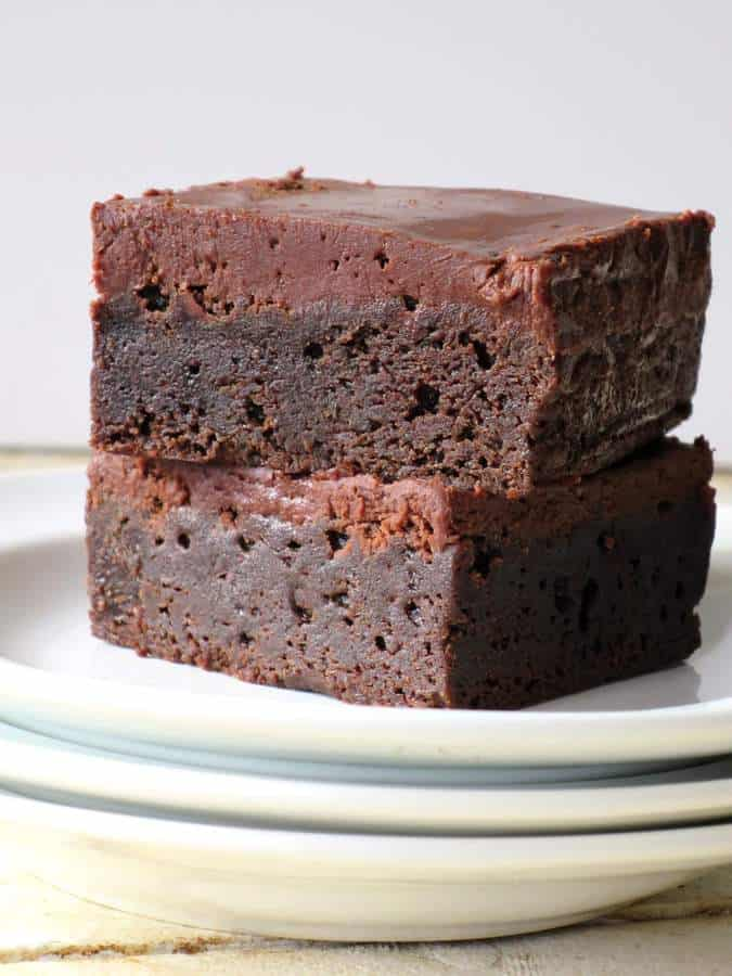 Frosted Fudge Brownies….. Seriously the Fudgy-est, Moistest, Richest Brownies I've ever had!