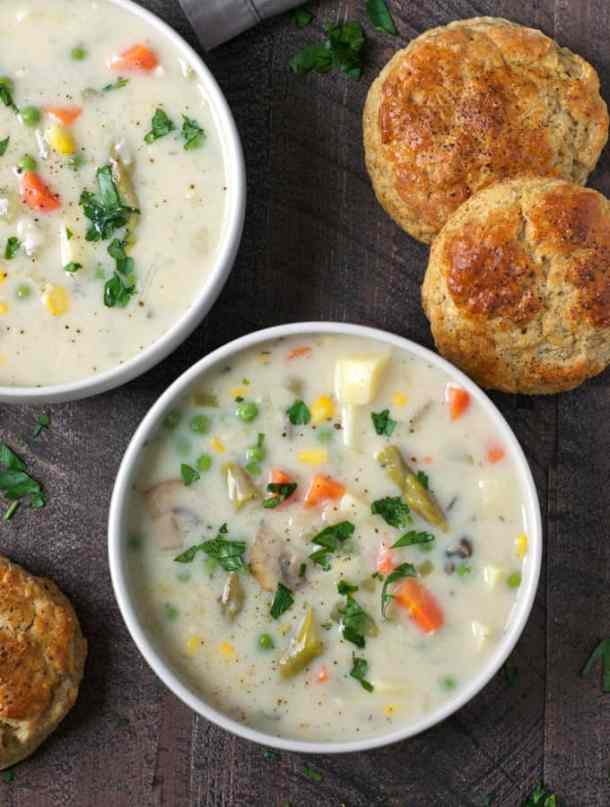 Vegetable Pot Pie Soup -- part of Hearty Soups that make the perfect weeknight dinner for your family