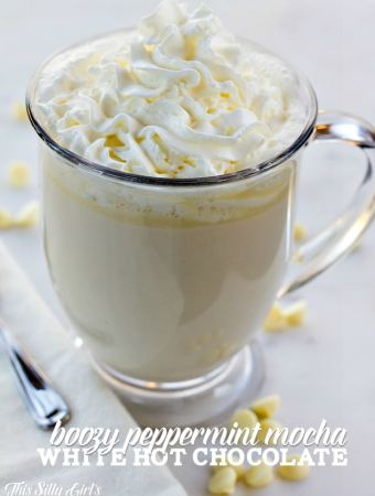 Boozy Peppermint Mocha White Hot Chocolate