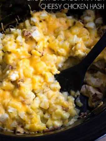 Crock Pot Bacon Ranch Cheesy Chicken Hash