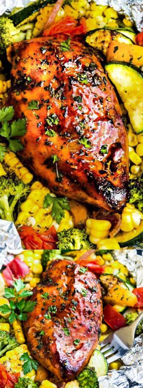 Grilled Honey Barbecue Chicken Foil Packets