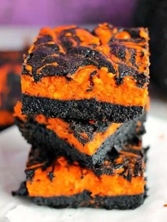 Halloween Swirl Cream Cheese Brownies