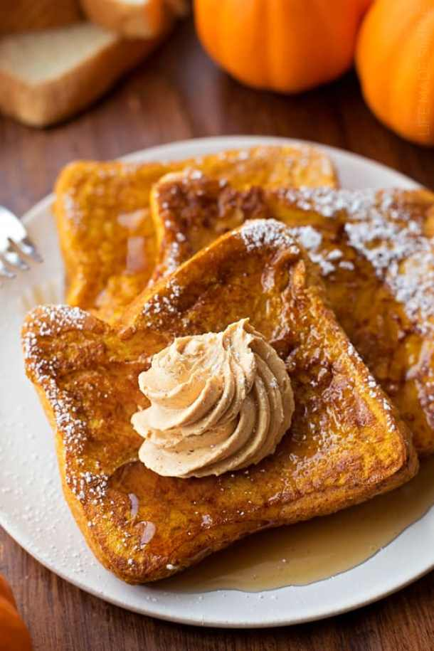 Pumpkin French Toast with Whipped Pumpkin Butter--Part of The Best French Toast Recipes