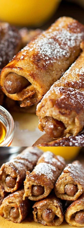 Sausage Stuffed French Toast Roll Ups