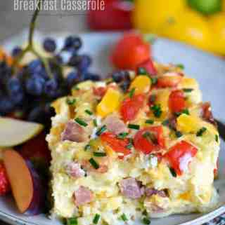 Slow Cooker Overnight Ham and Cheese Breakfast Casserole