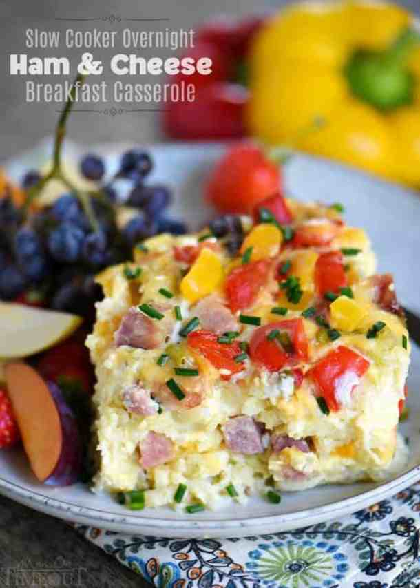 Slow Cooker Overnight Ham and Cheese Breakfast Casserole -- part of Cheesy Breakfast Recipes PERFECT for Saturday Mornings