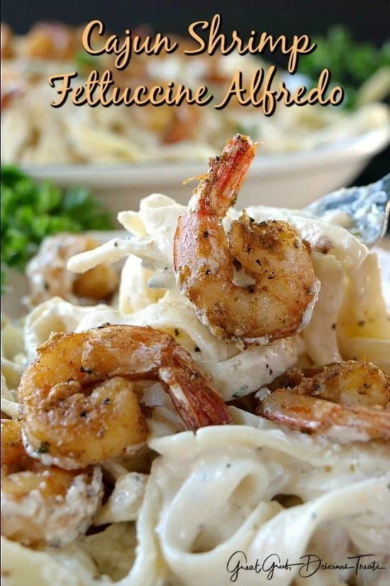 Here is a delicious Cajun Shrimp Fettuccine Alfredo that is scrumptious, easy to make and can be on the table in no time. It's super creamy and deliciously flavored!