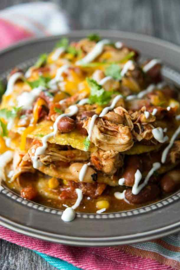 SLOW COOKER MEXICAN CHILI TOSTADA STACKS--part of 20+ Easy Weeknight Mexican Chicken Dinner Recipes