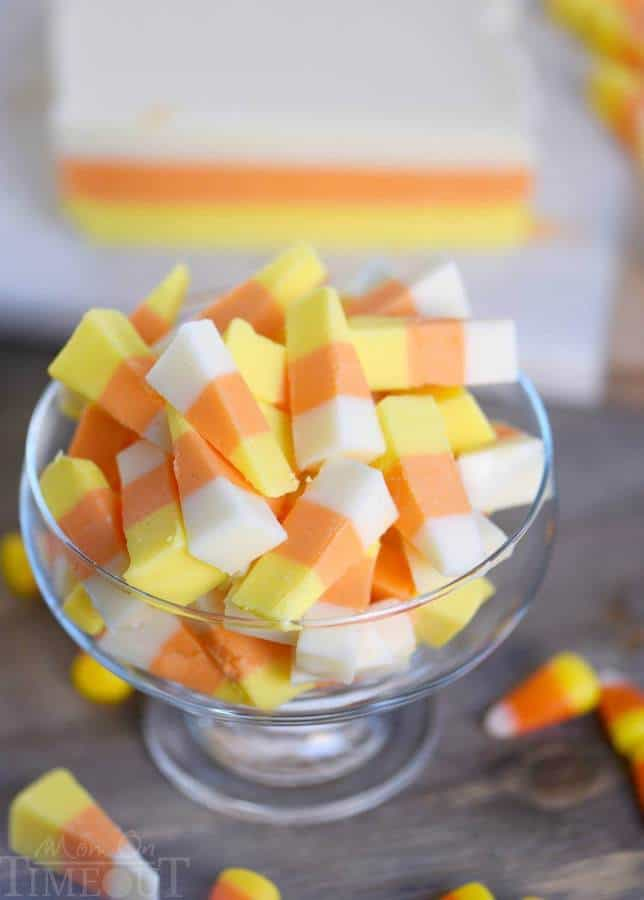 ThisEasy Candy Corn Fudgerecipe is going to become an annual tradition! Layers of creamy fudge flavored with real honey that look just like candy corn – so fun! No sweetened condensed milk needed!