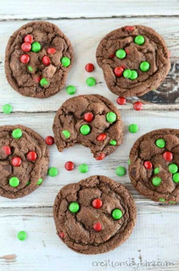 M&M Chocolate Christmas Cookies From Creations by Kara -- Part of Fun and Festive Christmas Desserts