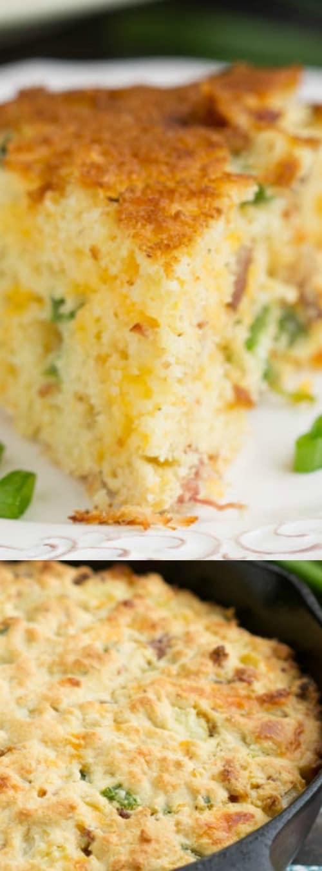 Cheesy Jalapeno Bacon Skillet Cornbread