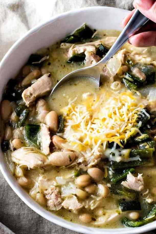 White Chicken Chili with Poblano Peppers -- Part of our Old Fashioned Chili Recipes just like your grandma made!