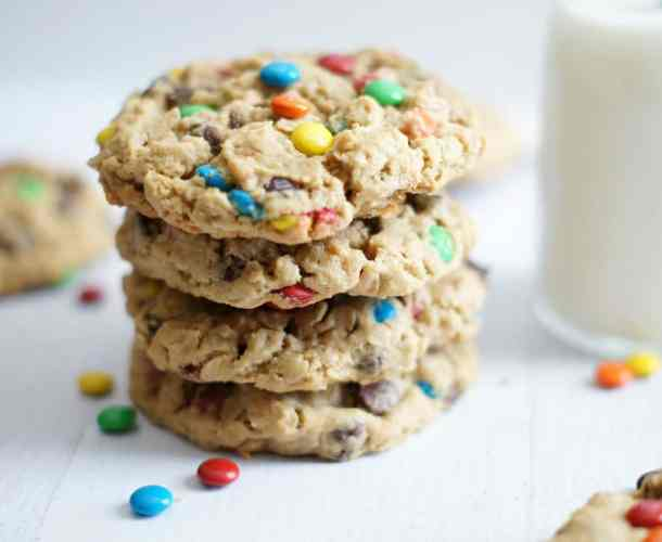M&M Chocolate Chip Monster Cookies-- Part of M&M Monster Dessert Recipes that your kids will love!