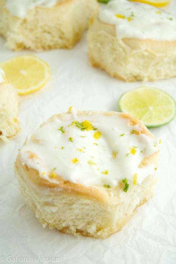 Soft and fluffy lemon-lime sweet rolls covered in a delicious lemon-lime cream cheese frosting! So easy and delicious!