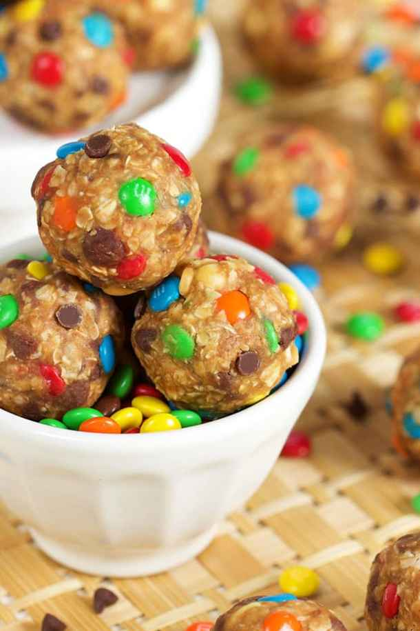 No Bake Monster Cookie Dough Bites-- Part of M&M Monster Dessert Recipes that your kids will love!
