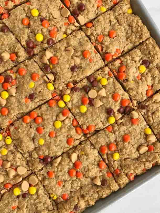 Triple Peanut Butter Monster Cookie Bars (Re-link)-- Part of M&M Monster Dessert Recipes that your kids will love!