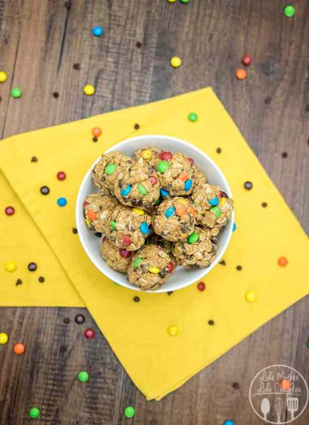 No Bake Monster Cookie Granola Bar Bites (re-link)-- Part of M&M Monster Dessert Recipes that your kids will love!