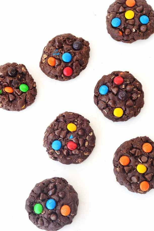 Chunky Chocolate M&M Monster Cookies-- Part of M&M Monster Dessert Recipes that your kids will love!