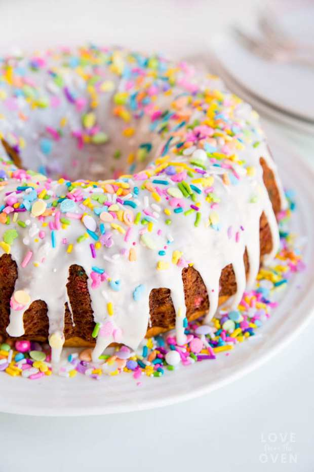 This easy and delicious funfetti bundt cake, filled with festive sprinkles, is perfect for celebrating any occasion.