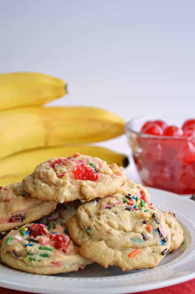 Banana split cookies. Soft, chewy banana pudding cookies loaded with chocolate chips, sprinkles and maraschino cherries.