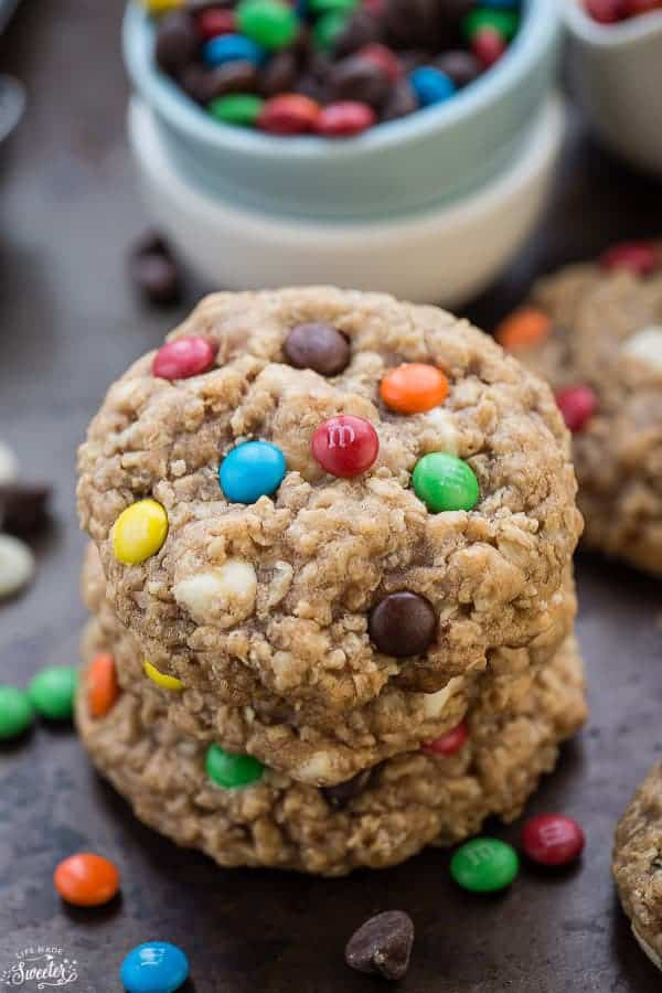 Oatmeal Monster Cookies with M&M's are perfectly soft & chewy and so easy to make. The best way to serve them is with a tall glass of milk.