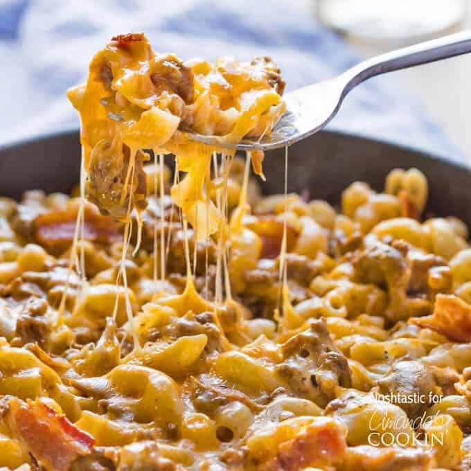It doesn't get much tastier than this Skillet Bacon Cheeseburger Pasta! This easy weeknight dinner is a great spin on an American classic and cooks in less than 20 minutes.