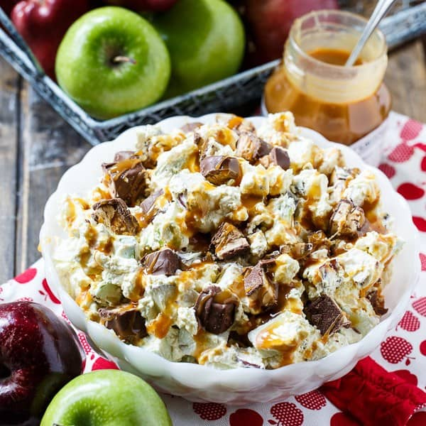 It's nearly time to transition from peach season to apple season and I can't think of a better way to do that than this Snickers Caramel Apple Salad, a classic easy recipe that's a real favorite with kids and makes a fabulous fall snack.