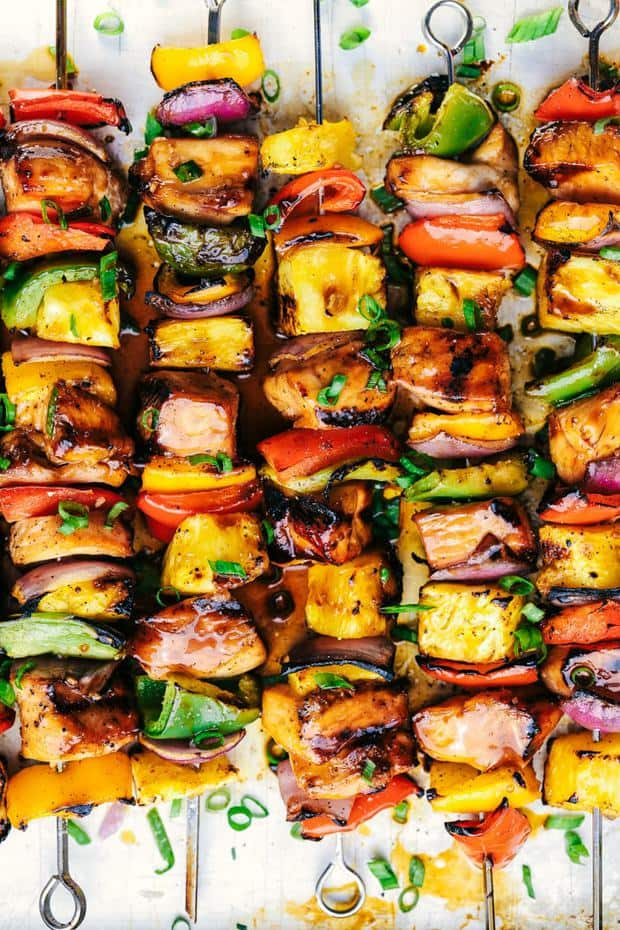 Grilled Hawaiian Teriyaki Chicken Skewersmarinate in the very best homemade hawaiian teriyaki sauce! Loaded with peppers, fresh pineapple and red onions, these make an incredible and vibrant meal!