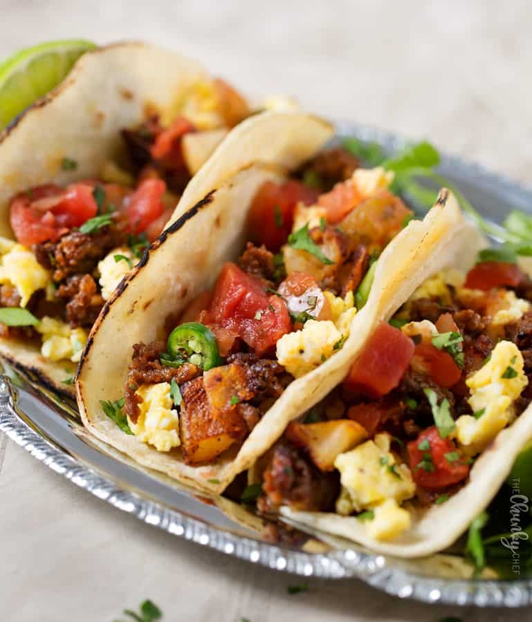 The best way to start your day is with these chorizo, potato and egg breakfast tacos! Spicy and savory, with an easily customizable heat level, they're sure to be a family favorite!
