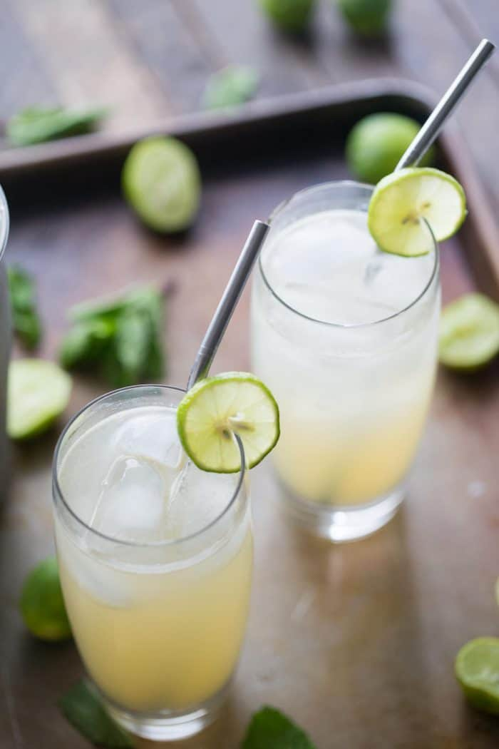 A Vodka Collins with the tangy, summery taste of key limes! This cocktail is the quintessential summer cocktail!