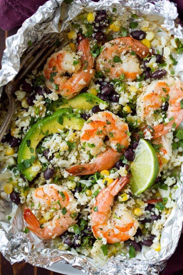 Cilantro Lime Shrimp and Cauliflower Foil Packs