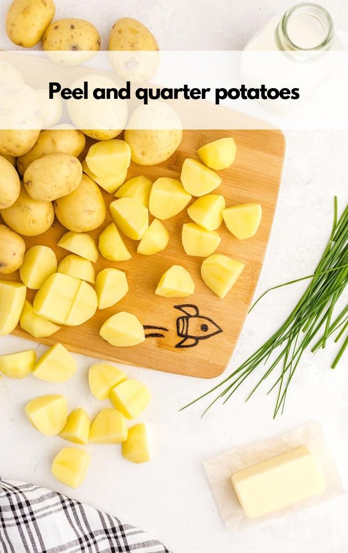 peeled quarter potatoes