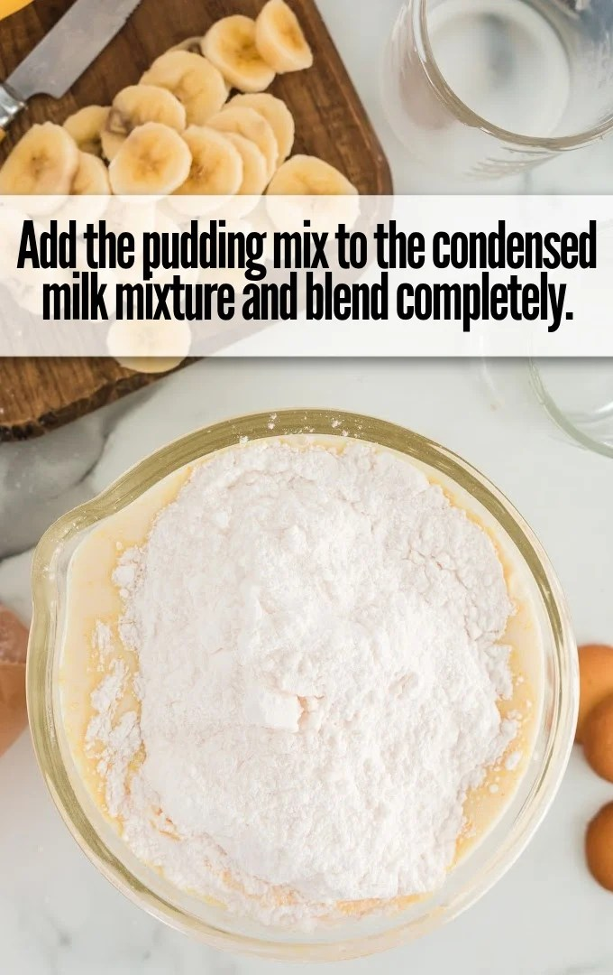 pudding mix and condensed milk in bowl