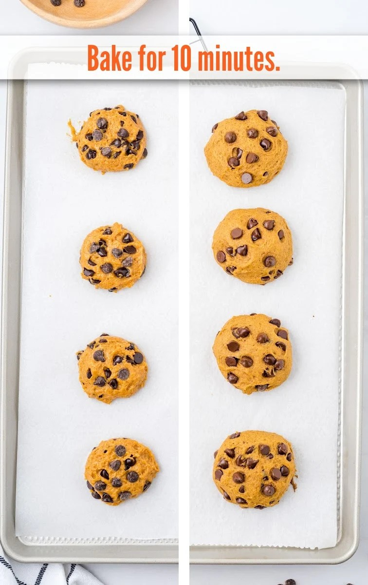 Pumpkin Chocolate Chip Cookies on tray on parchment paper