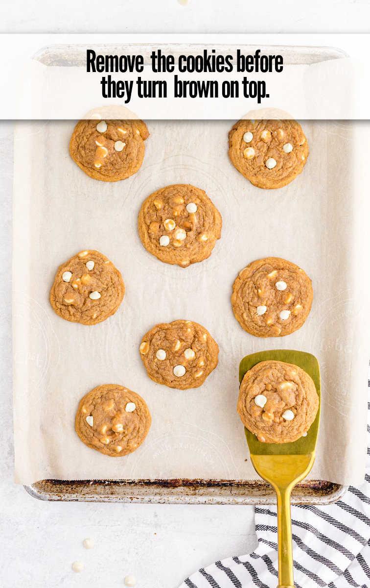 Pumpkin Spice Pudding Cookies on parchment paper