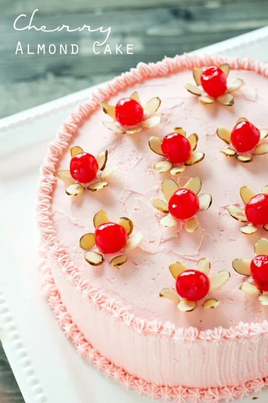 If you love cherries, you'll love this Cherry Almond Cake. 100% from scratch with a maraschino cherry frosting.