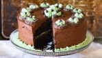 Chocolate cake layered with mint and chocolate buttercream. Top the mint chocolate layer cake with grasshopper cookies for quick decorations of grasshopper cookies.