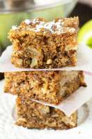 Moist, tender apple walnut snack cake with cinnamon and a simple dusting of powdered sugar. A deliciously simple dessert recipe with excellent reviews.