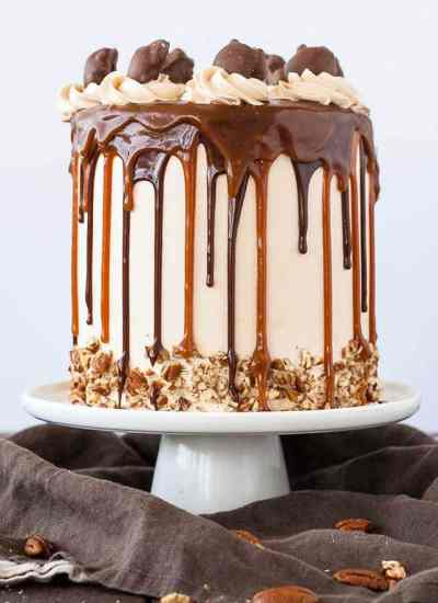 chocolate cake with caramel buttercream, chocolate ganache and dripping caramel
