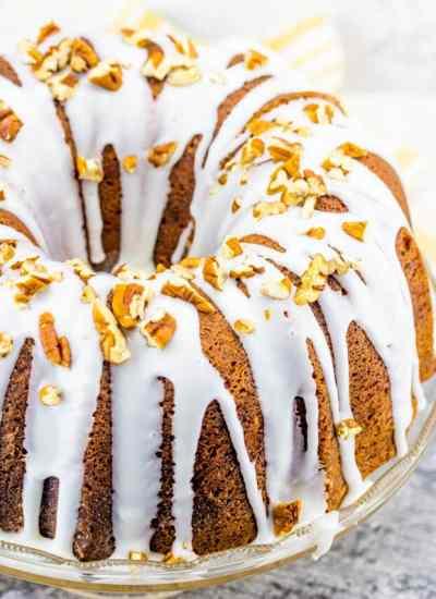 Butter Pecan Bundt Cake with powdered sugar glaze