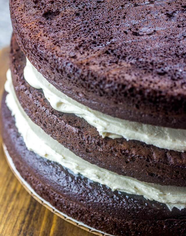 unfrosted 3 layer chocolate cake