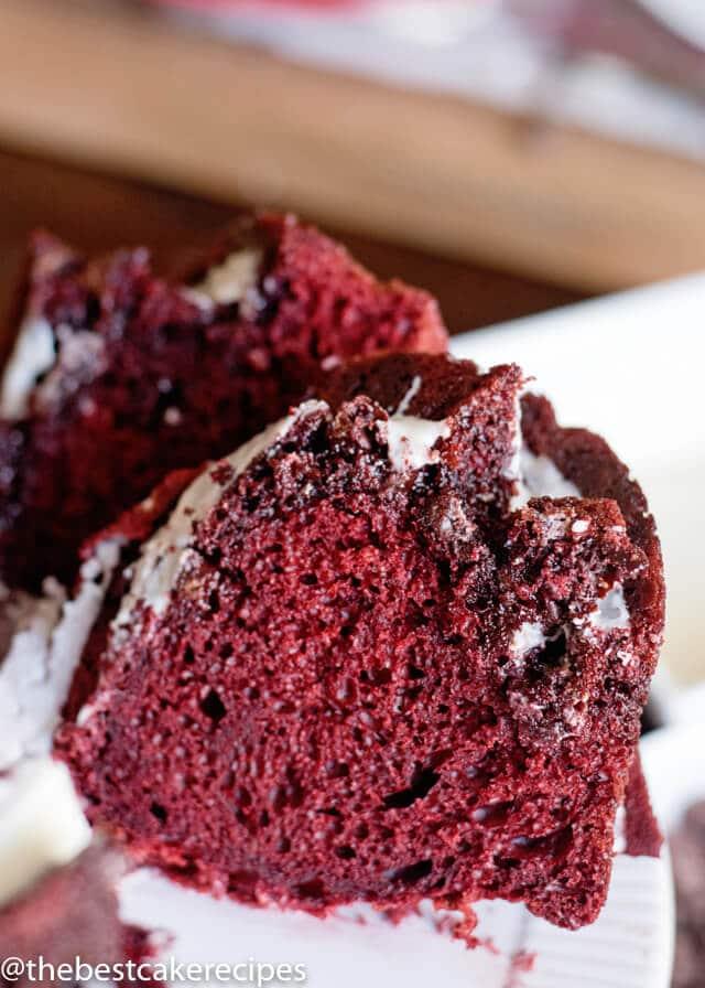 slice of red velvet bundt cake on a plate