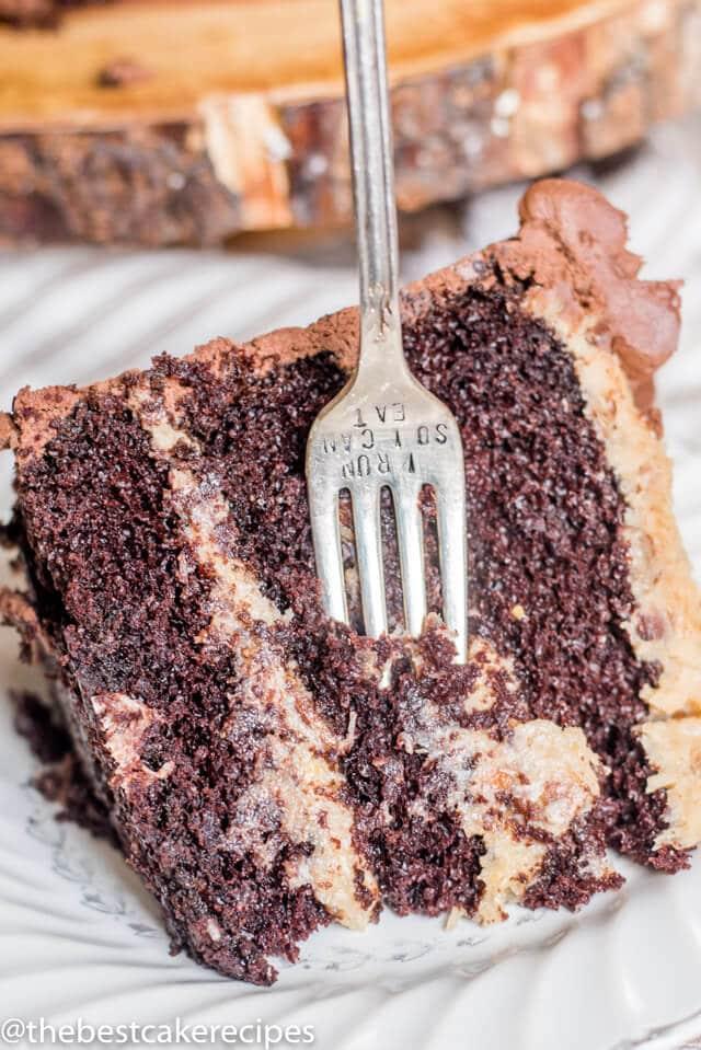 three layer german chocolate cake on a plate