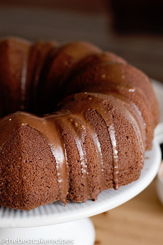 A close up of a chocolate bundt cake with glaze